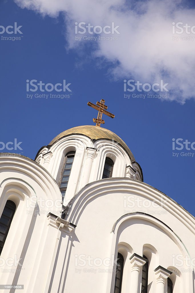 Low angle view of Orthodox Church and cloudy sky stock photo