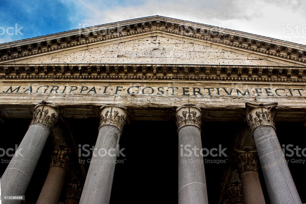 Low angle view of Pantheon in Rome, Italy stock photo
