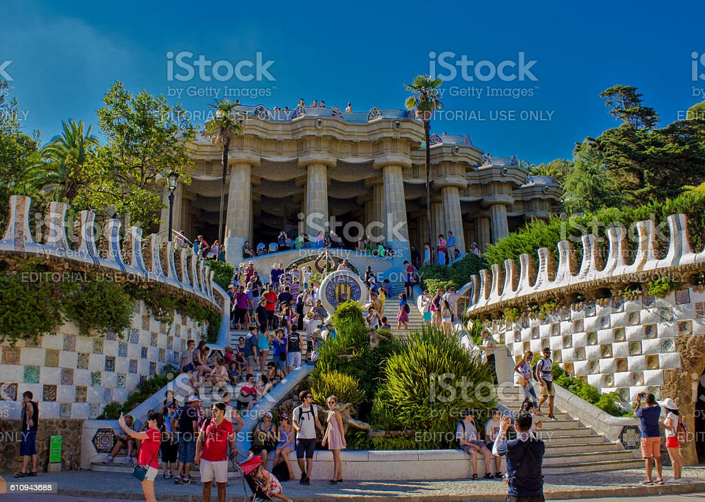 Low angle view of Park Güell in Barcelona, Spain stock photo