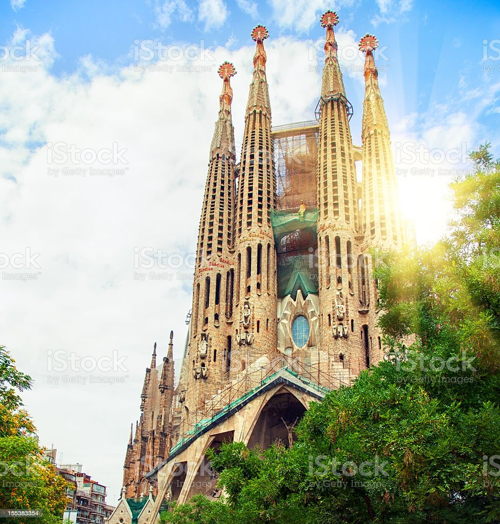 Low angle view of Sagrada Familia, Barcelona stock photo