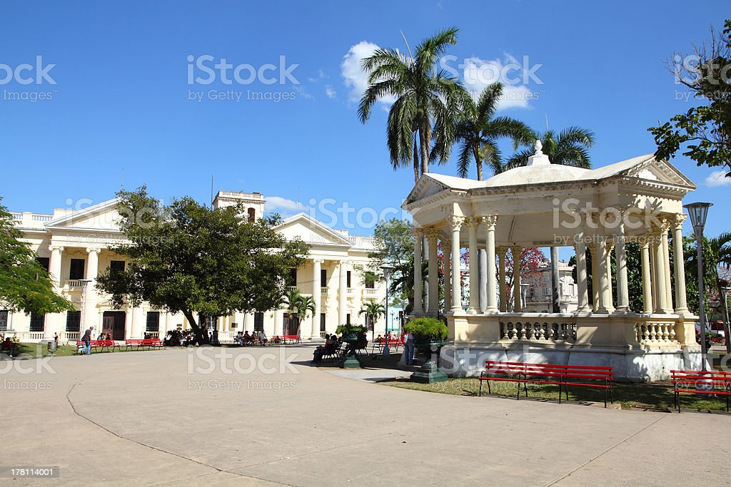 Low angle view of Santa Clara in Cuba stock photo
