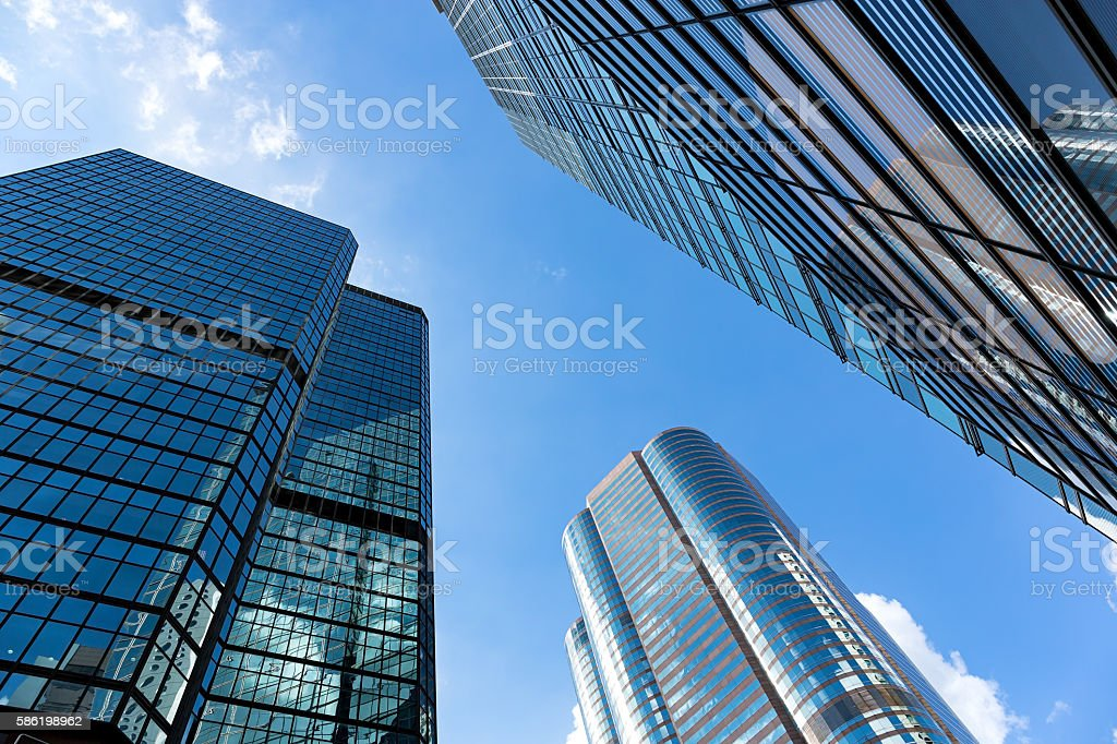 Low angle view of skyscrapers in the Hong Kong stock photo