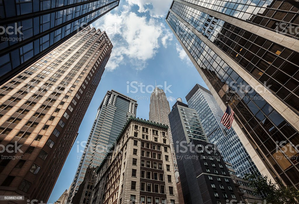 Low angle view of skyscrapers, New York stock photo