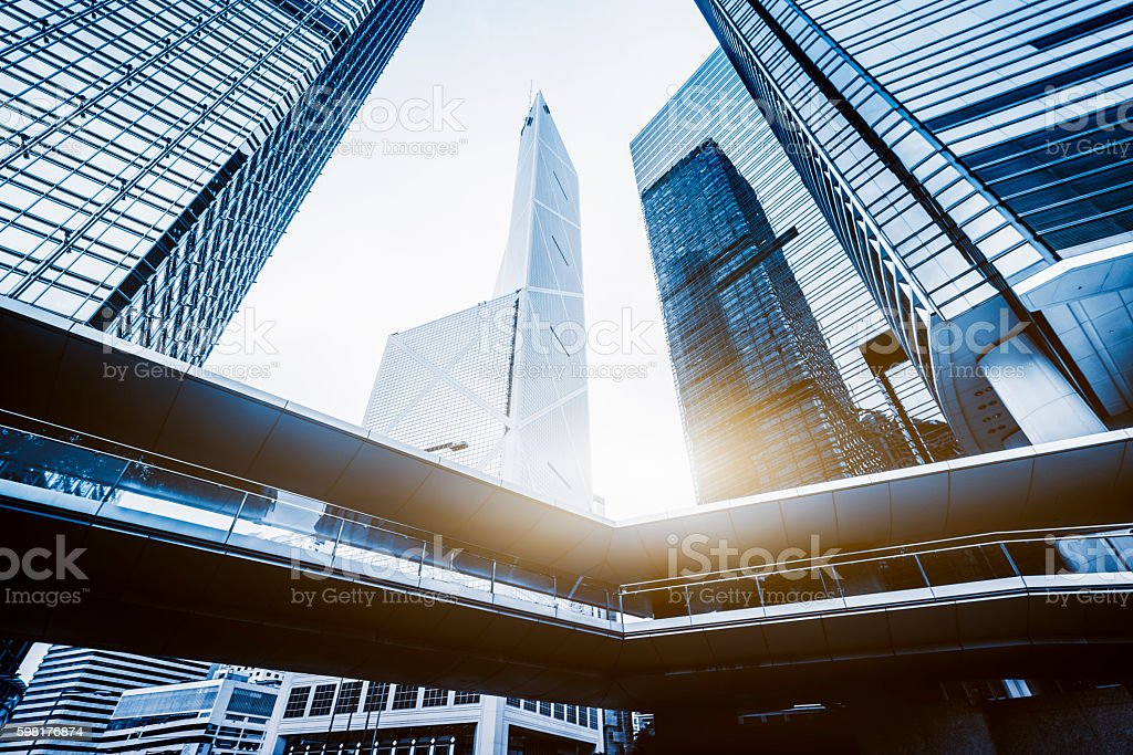 low angle view of skyscrapers of hong kong central district stock photo