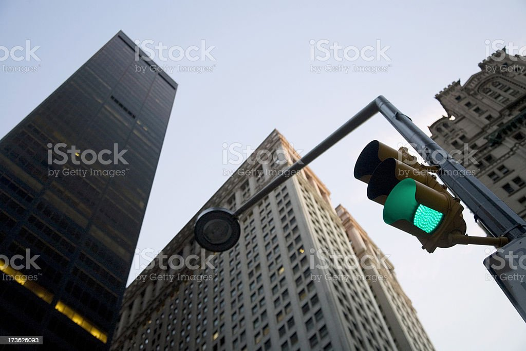 Low Angle View of Skyscrapers On Broadway stock photo