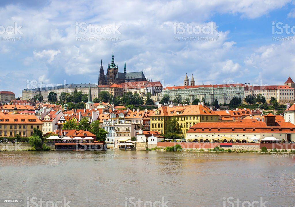 Low angle view of St. Vitus's Cathedral over Vltava river stock photo