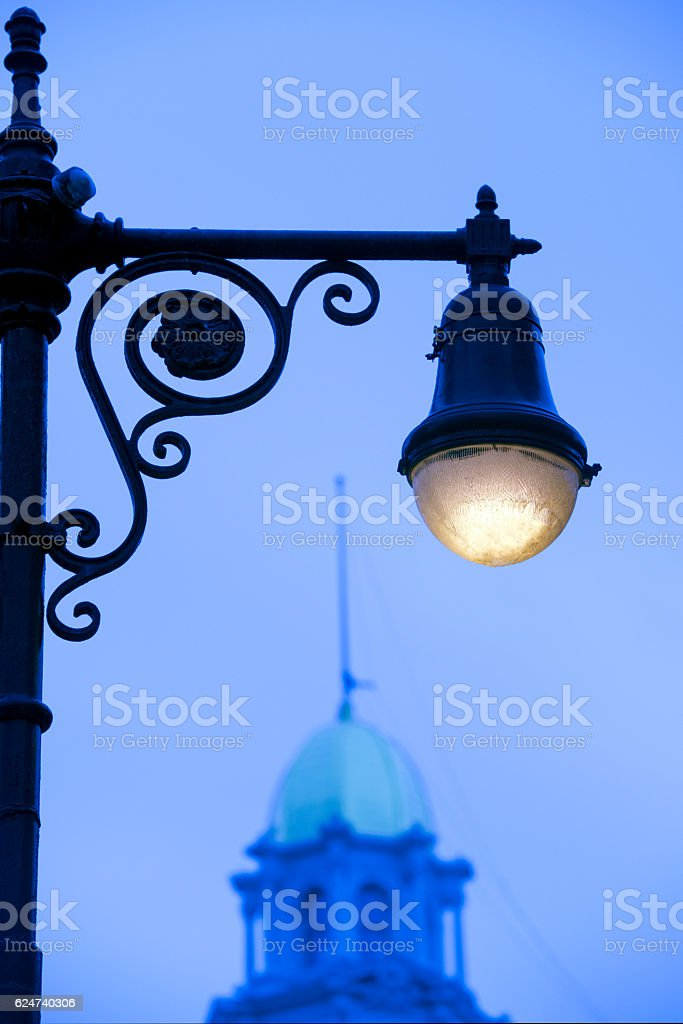 Low angle view of street lamp stock photo