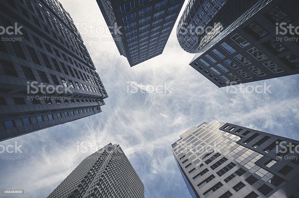 Low angle view of the Boston downtown royalty-free stock photo
