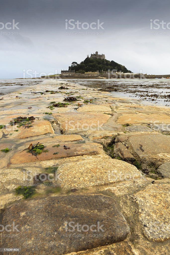 low angle view of the causeway to St. Michael's Mount royalty-free stock photo