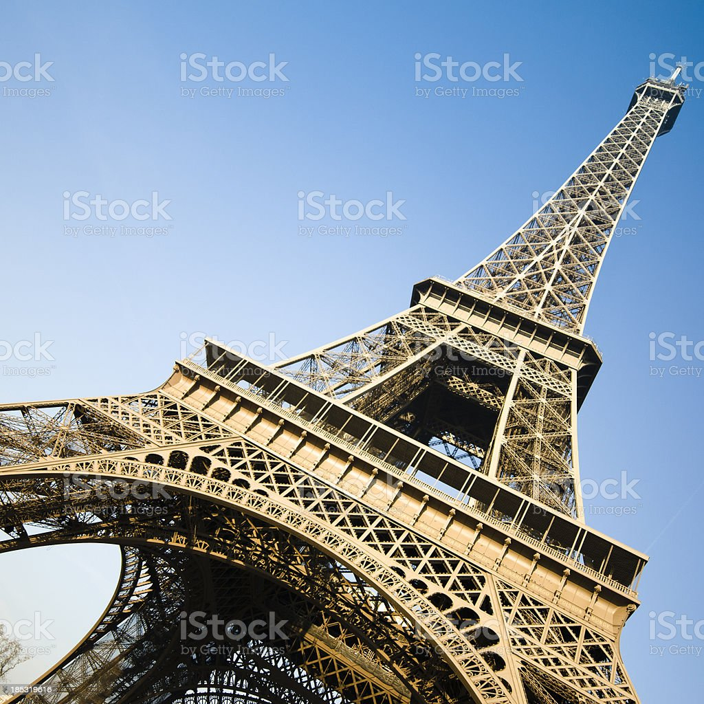 Low angle view of the Eiffel Tower, Paris, France stock photo