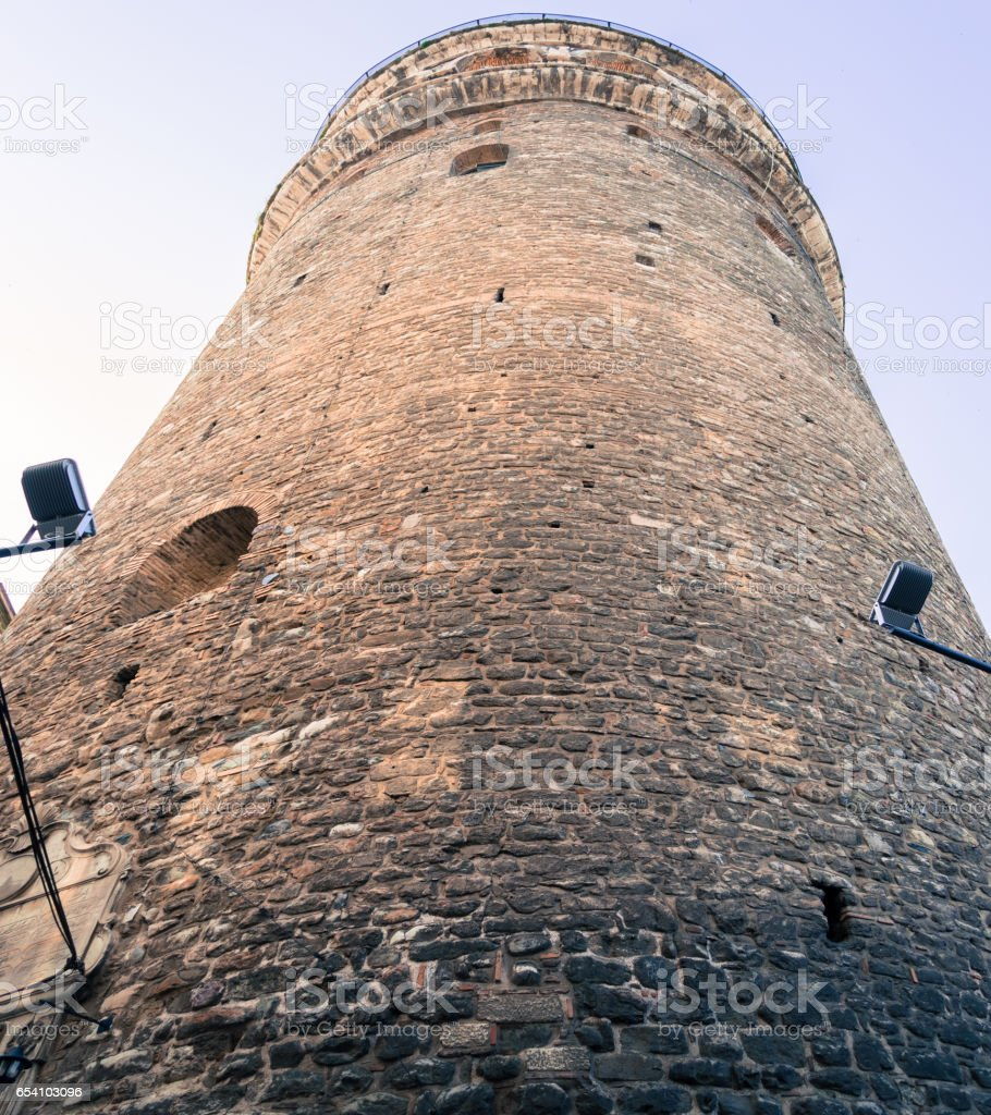 Low angle view of the Galata Tower in Istanbul Turkey stock photo