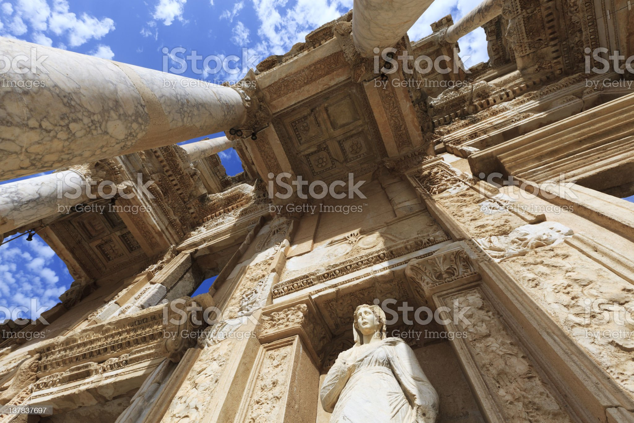 Low angle view of The Library of Celus in Ephesus, Turkey royalty-free stock photo