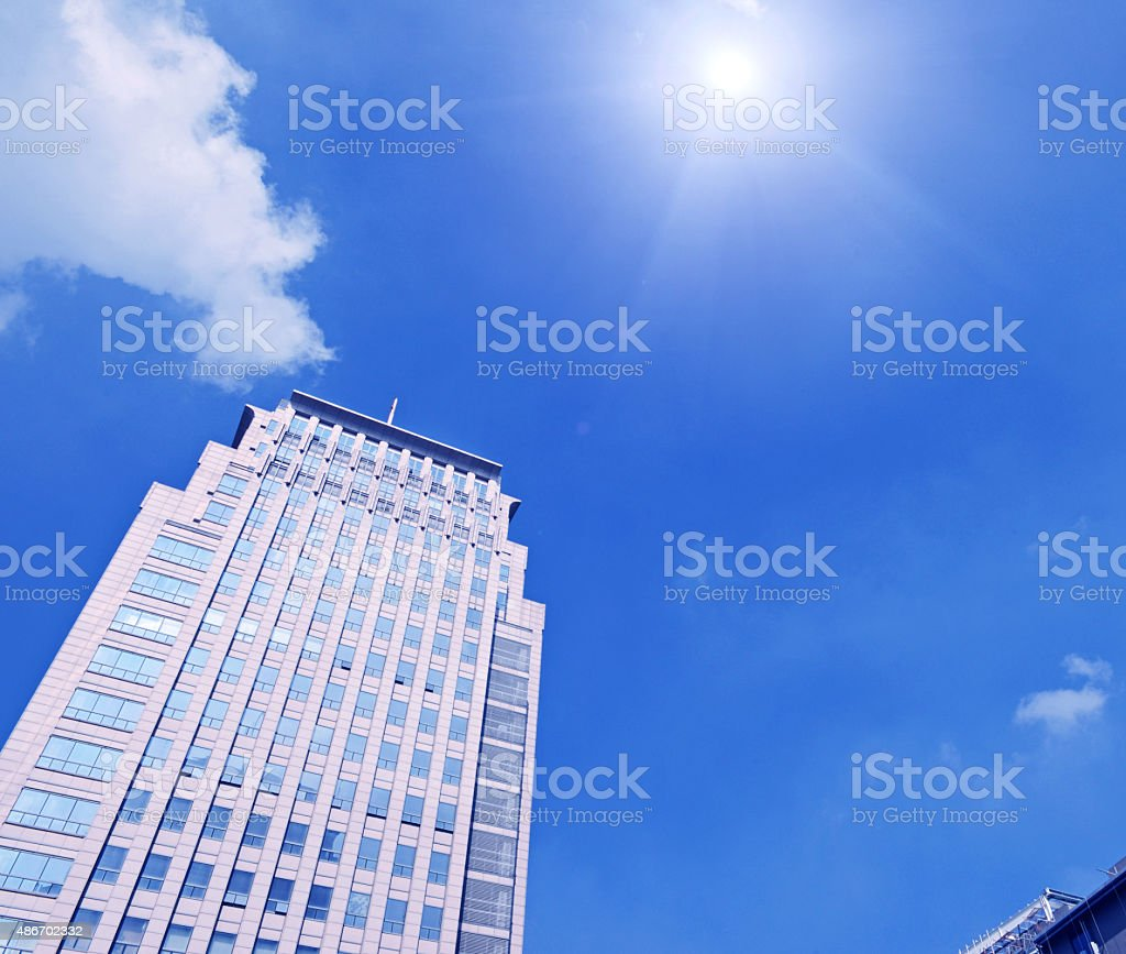 Low angle view of the Twin Towers stock photo