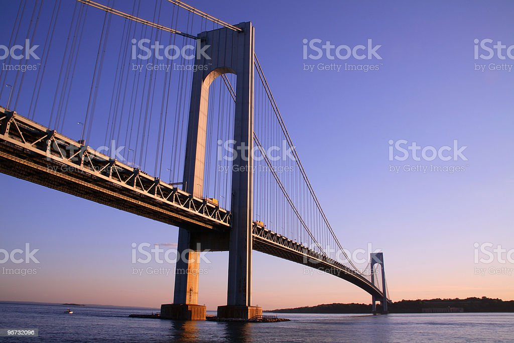 Low angle view of the Verrazano-Narrows bridge at dusk stock photo