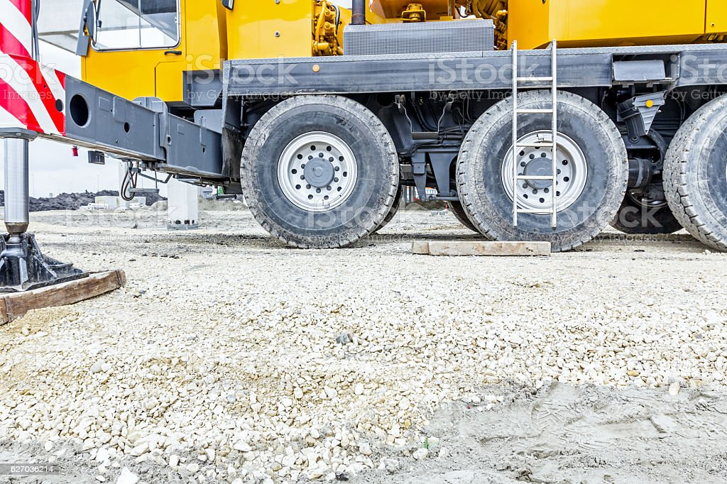 Low angle view on big crane's wheels, undercarriage stock photo