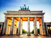 low angle view on Brandenburger Tor in Berlin at sunset