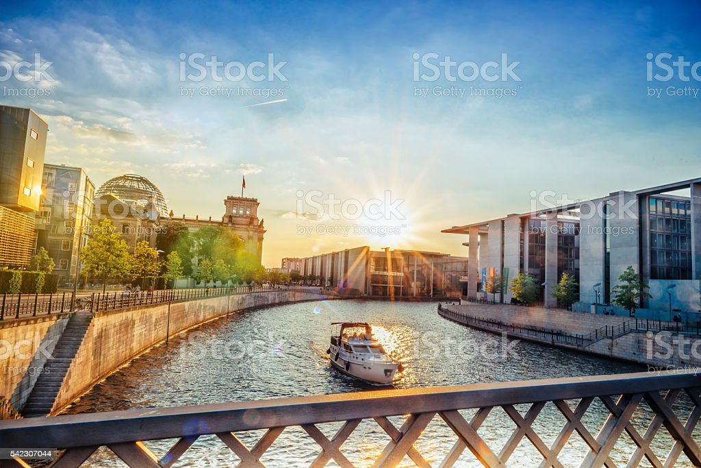 low angle view on Brandenburger Tor in Berlin at sunset stock photo