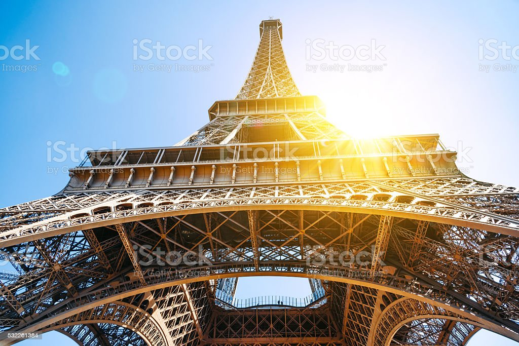 low angle view on eiffel tower stock photo