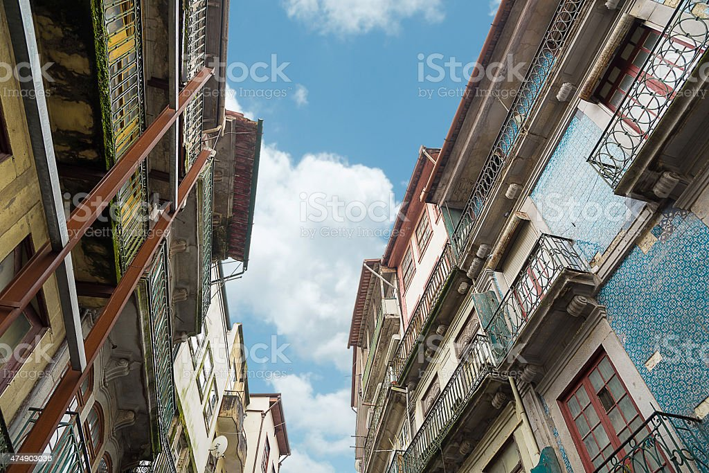 low angle view on old colorful houses in porto stock photo