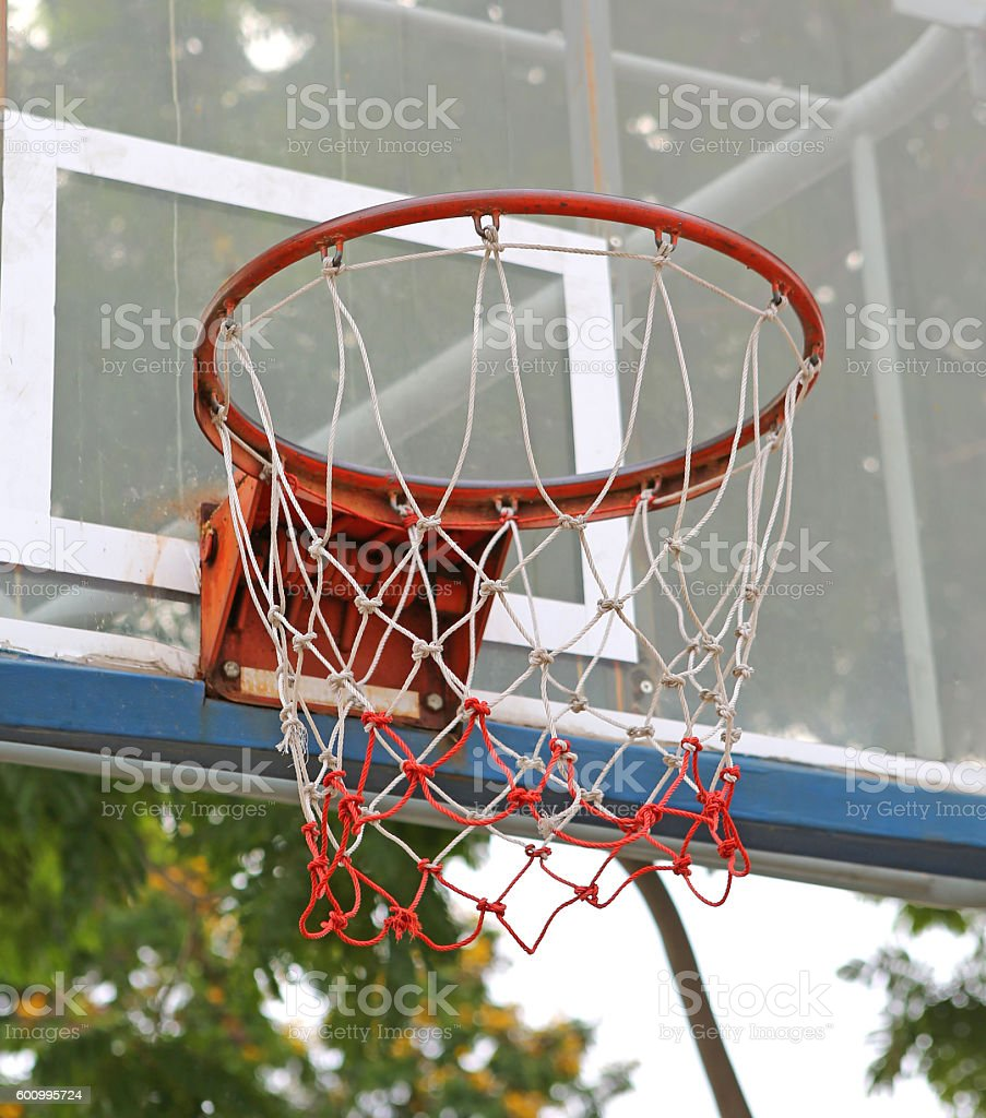 Low angle view outdoor basketball stock photo
