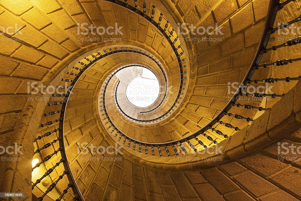 Low angle view straight up of a triple spiral staircase stock photo