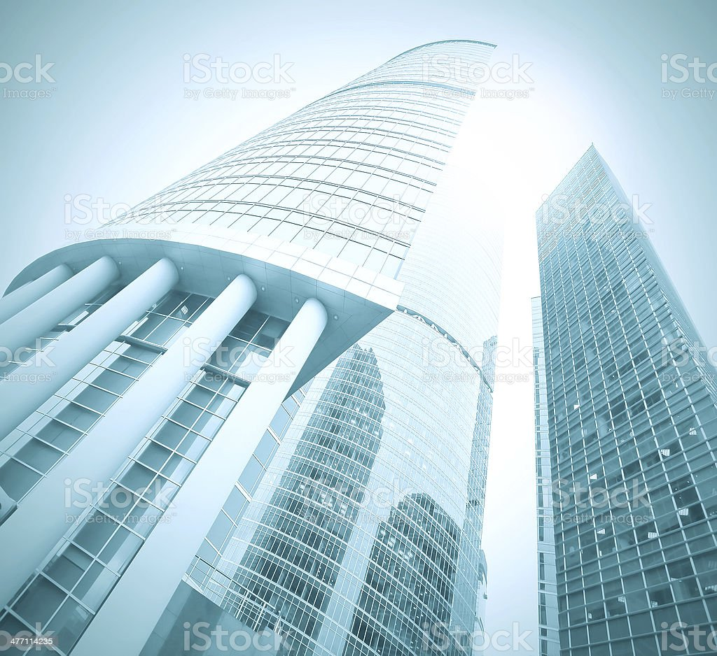 low angle view to light glass buildings of business center stock photo