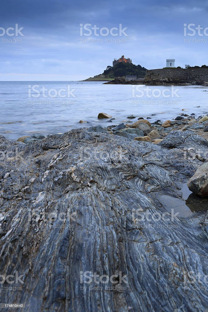 low angle view to St. Michael's Mount royalty-free stock photo