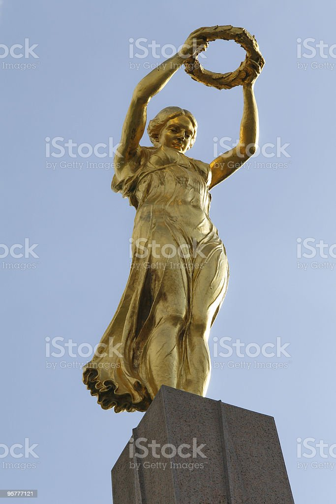 Low angled shot of the Great War memorial in Luxembourg stock photo