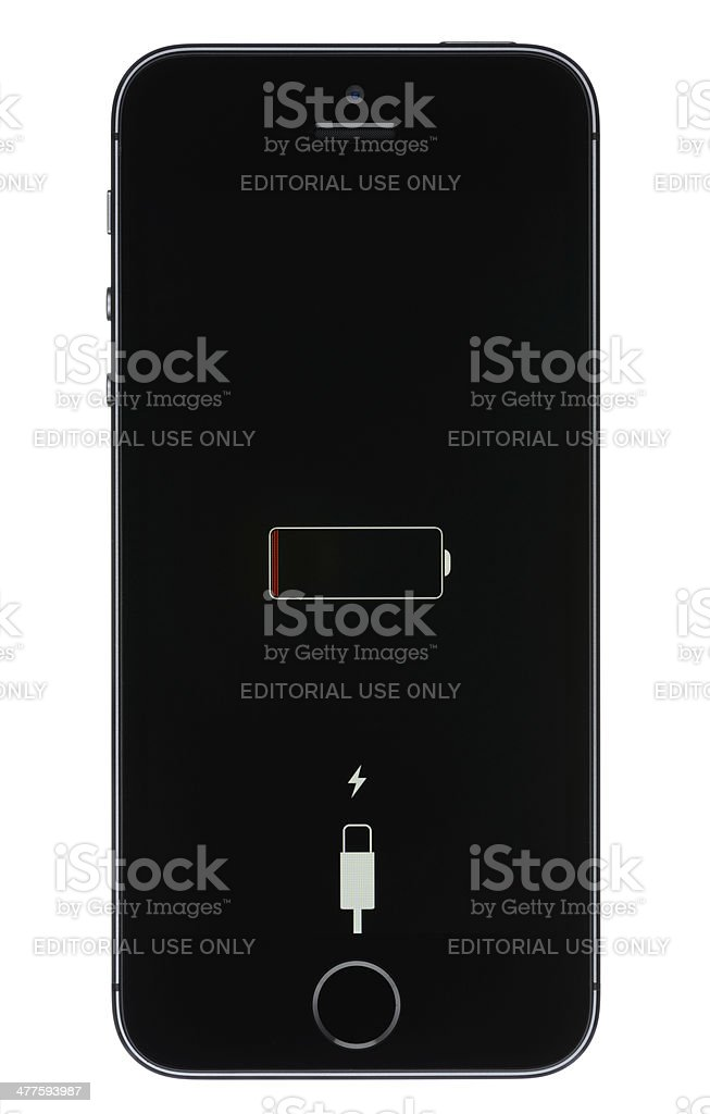 Low Battery on an iPhone 5s stock photo