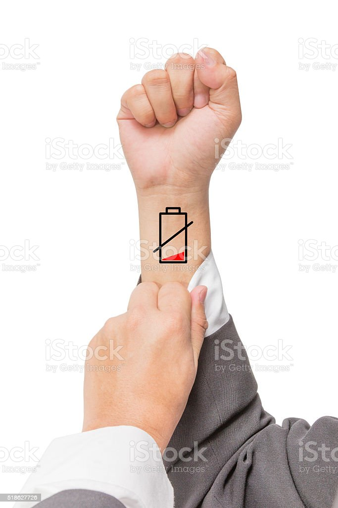 low battery on the wrist stock photo