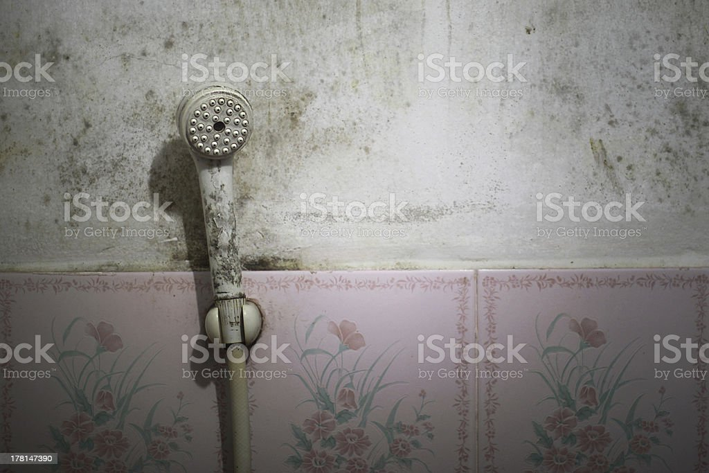 low budget hotel shower stock photo