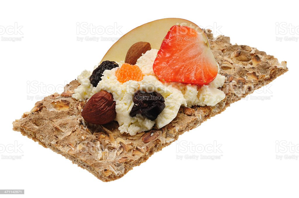 Low caloric open sandwich. Isolated on white royalty-free stock photo