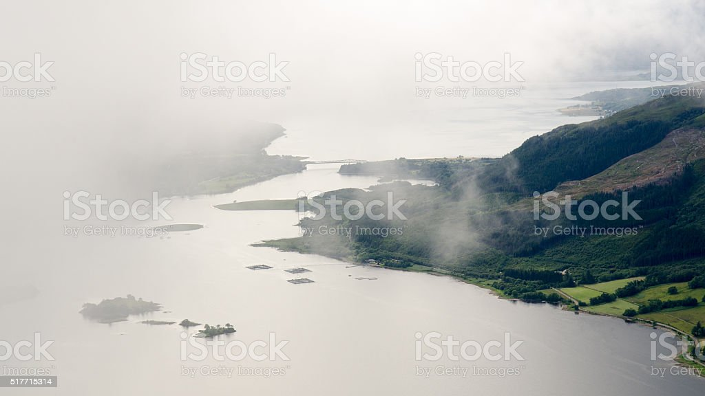 Low cloud on Loch Leven stock photo