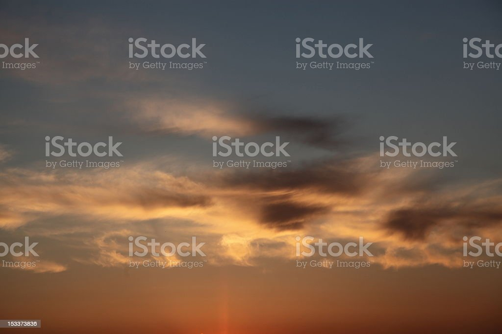 Low clouds at sunset royalty-free stock photo