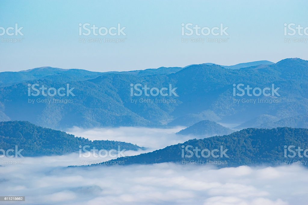Low Clouds in Appalachian Mountains stock photo