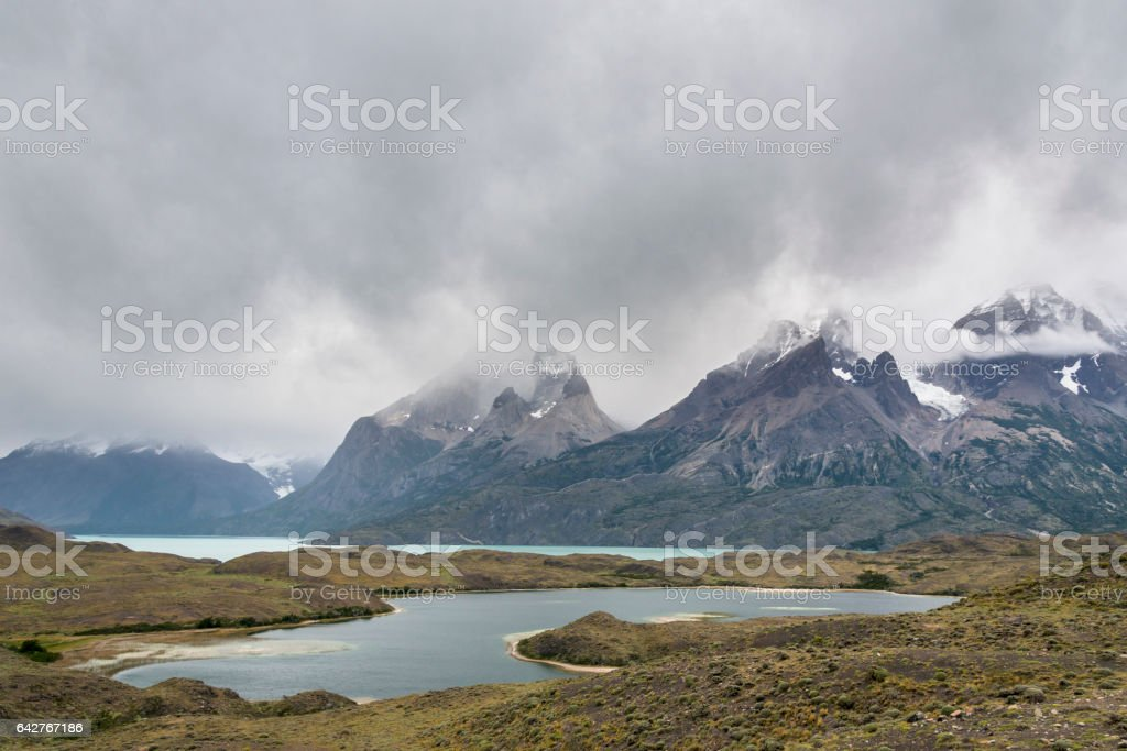 Low clouds in Torres del Paine National Park, Patagonia, Chile stock photo