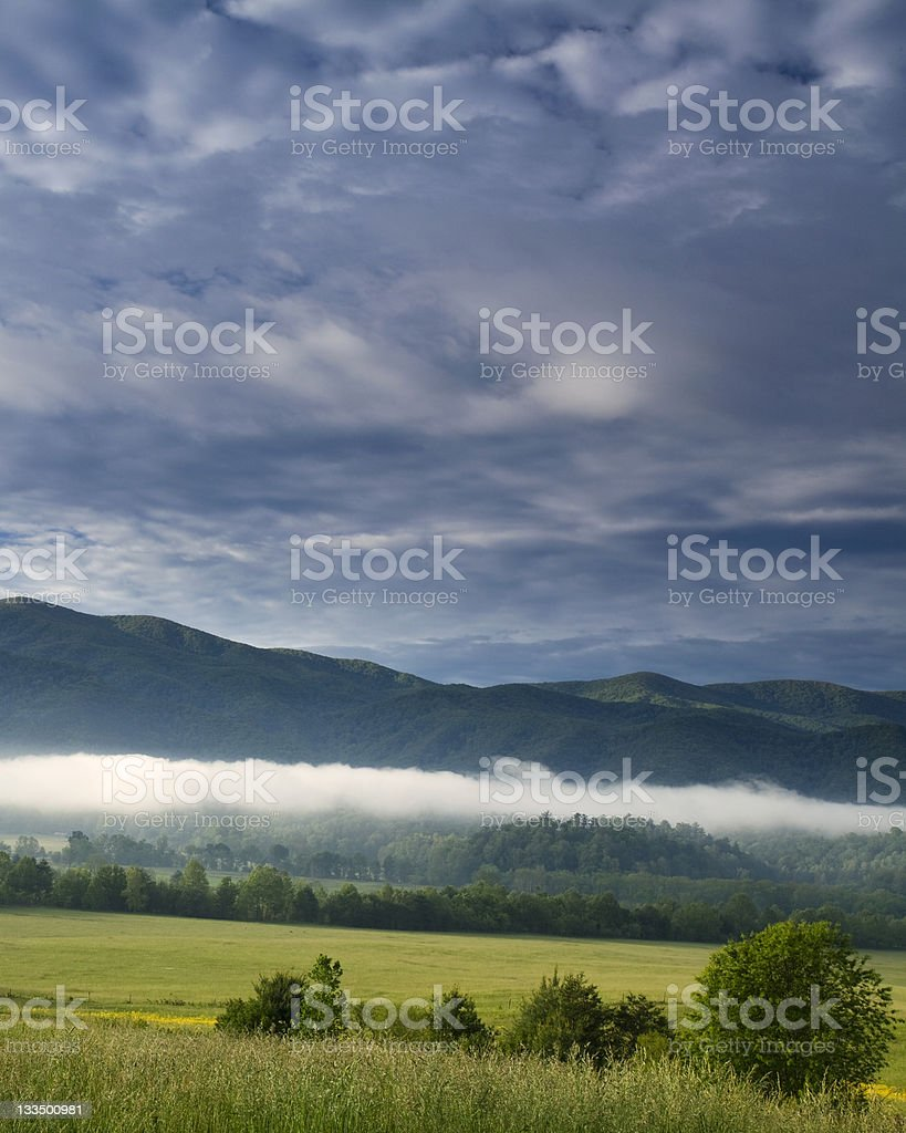 Low Clouds over Cades Cove royalty-free stock photo