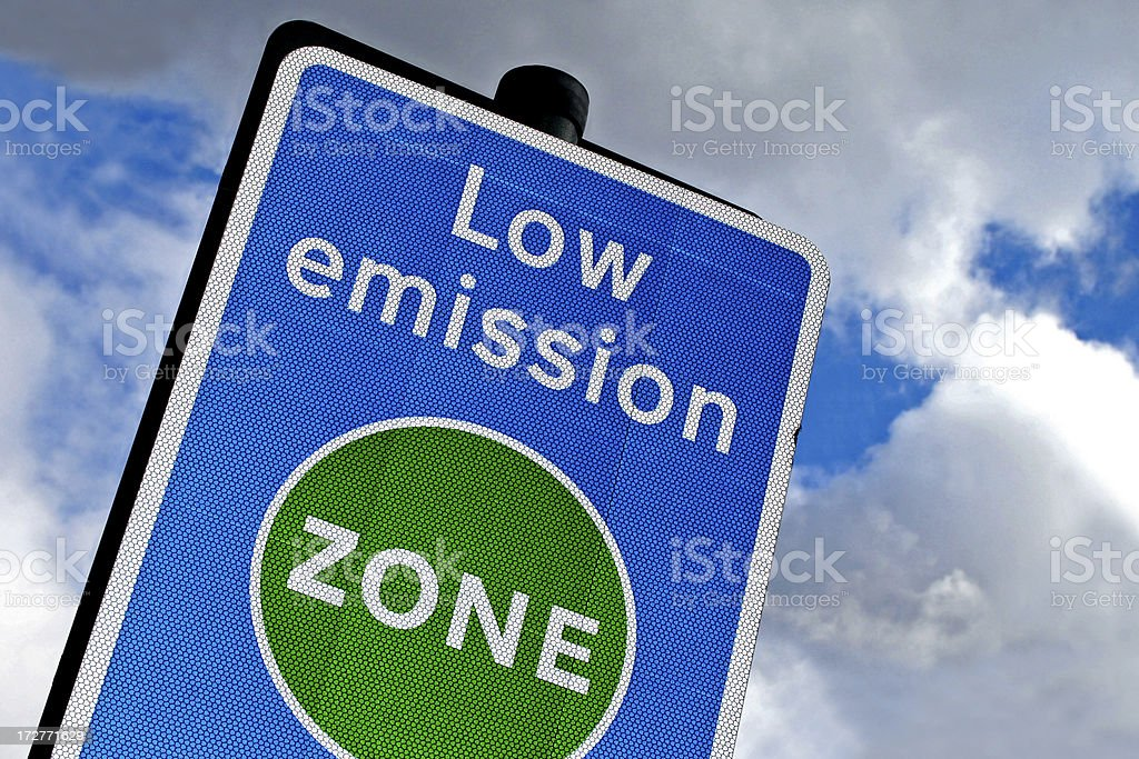 Low emission zone in London stock photo