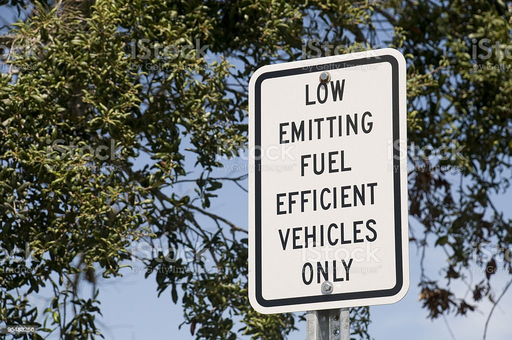 Low Emitting Fuel Efficient Vehicles Sign royalty-free stock photo