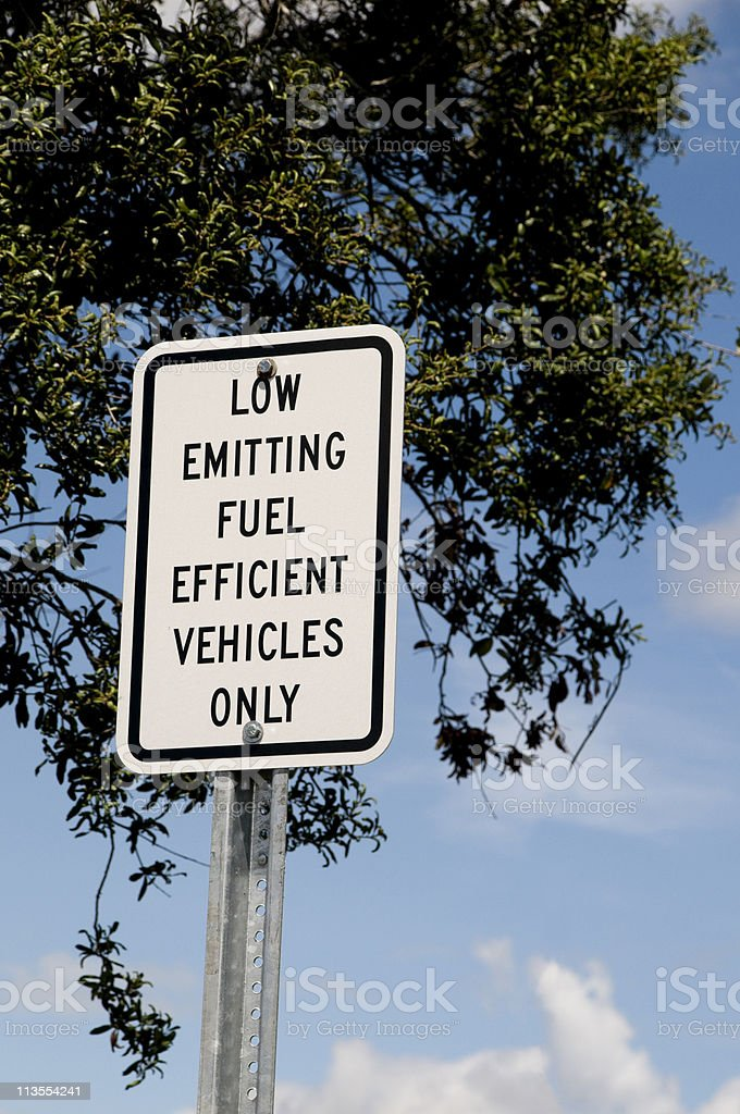 Low Emitting Fuel Sign stock photo