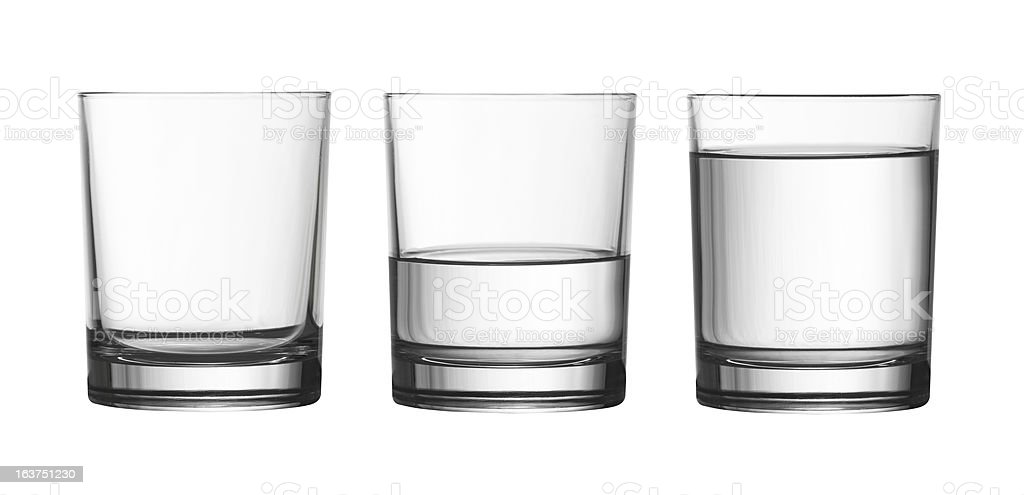 low empty, half and full water glass isolated on white stock photo
