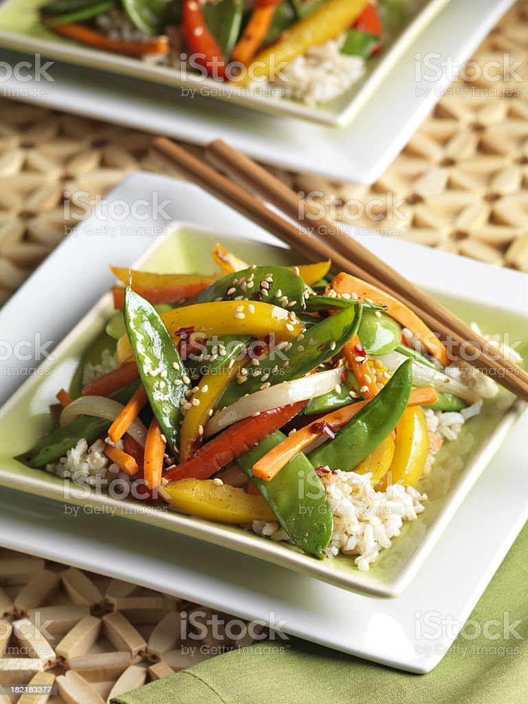 Low fat Stir Fry Vegetables on Brown Rice stock photo