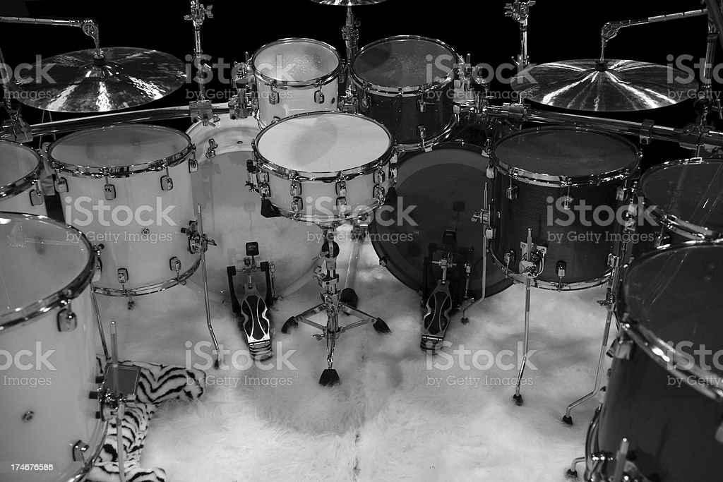 Low key drumset stock photo
