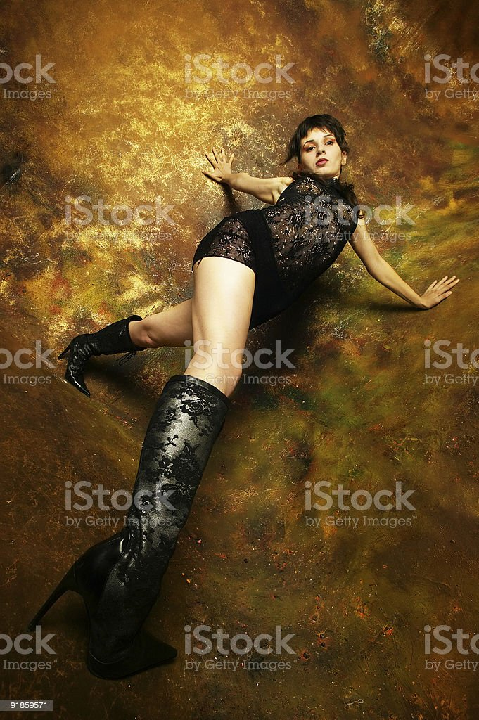 Low key girl royalty-free stock photo