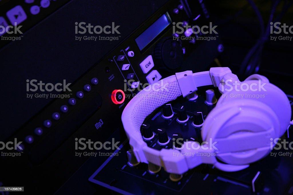 Low key headphone on sound mixer royalty-free stock photo