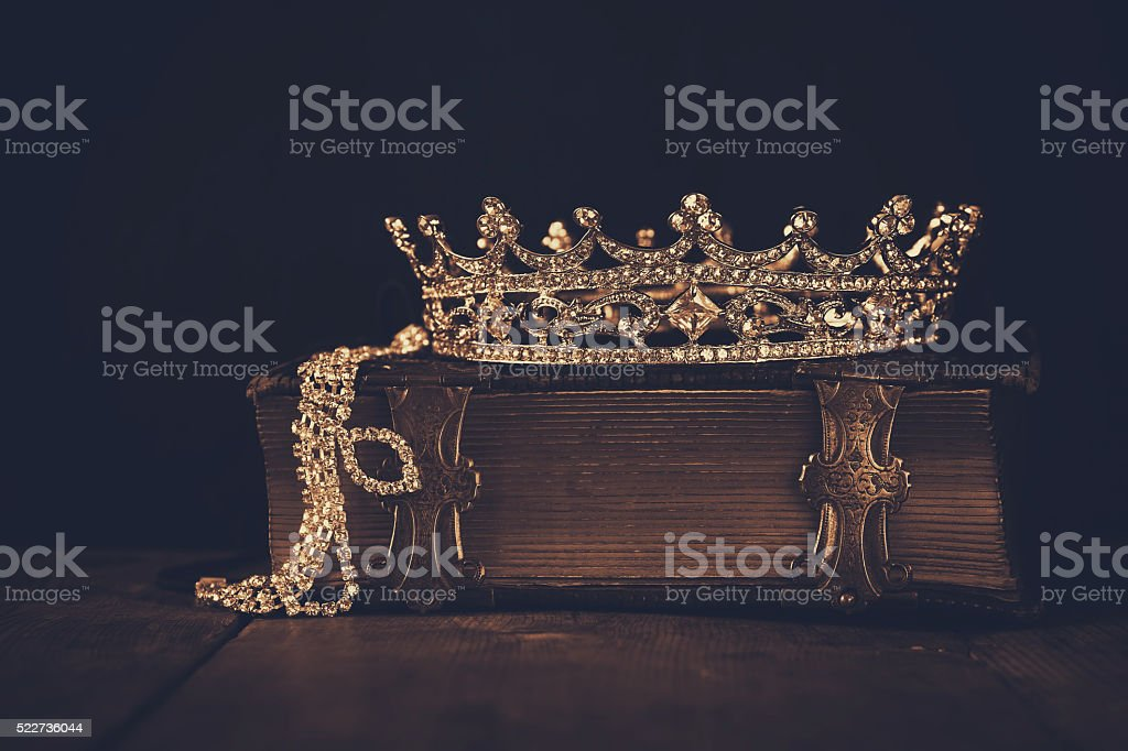 low key image of beautiful diamond queen crown stock photo