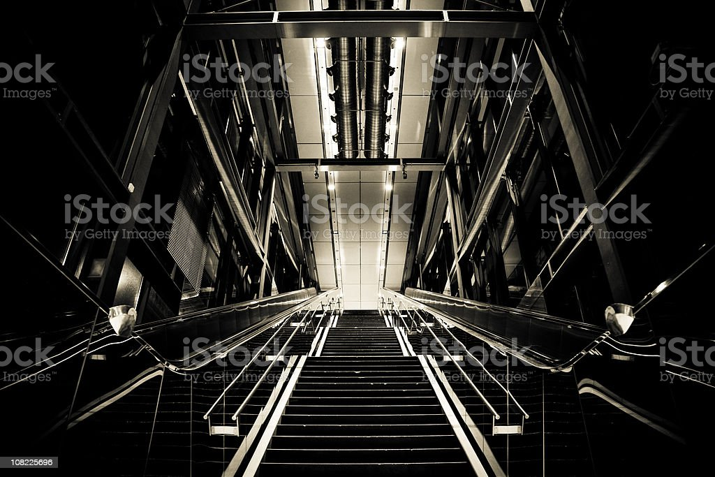 Low Key Image of Contemporary Designed Staircase royalty-free stock photo