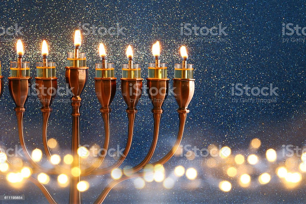 Low key Image of jewish holiday Hanukkah background stock photo