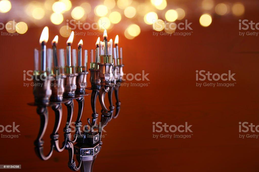 Low key Image of jewish holiday Hanukkah background stock photo