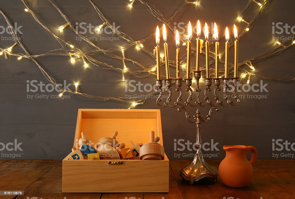 Low key Image of jewish holiday Hanukkah stock photo